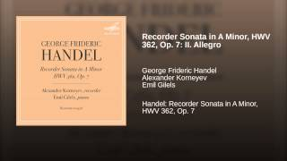 Recorder Sonata in A Minor, HWV 362, Op. 7: II. Allegro
