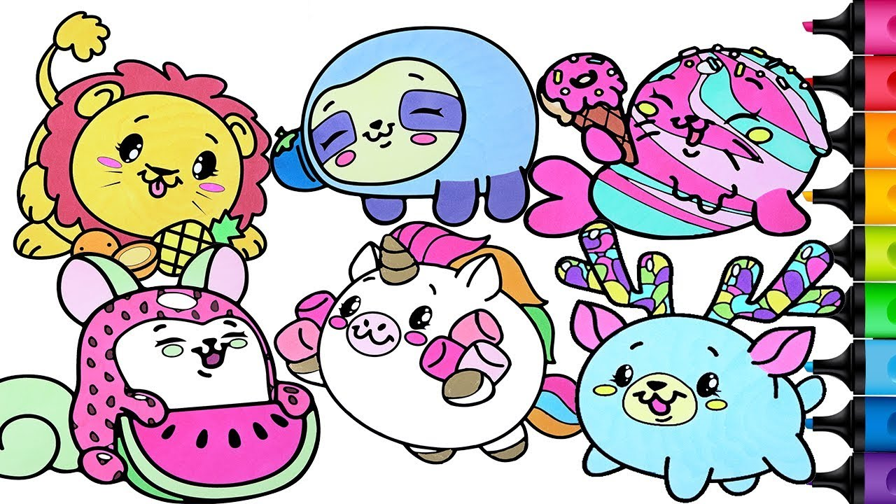 Pikmi Pops Coloring Book Pages Compilation Peapod Dream The Unicorn Selby The Sloth Rainbow Splash