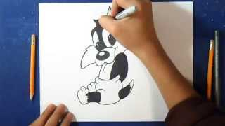 "Cómo dibujar Gato Silvestre (Bebé) ""Looney Tunes"" 