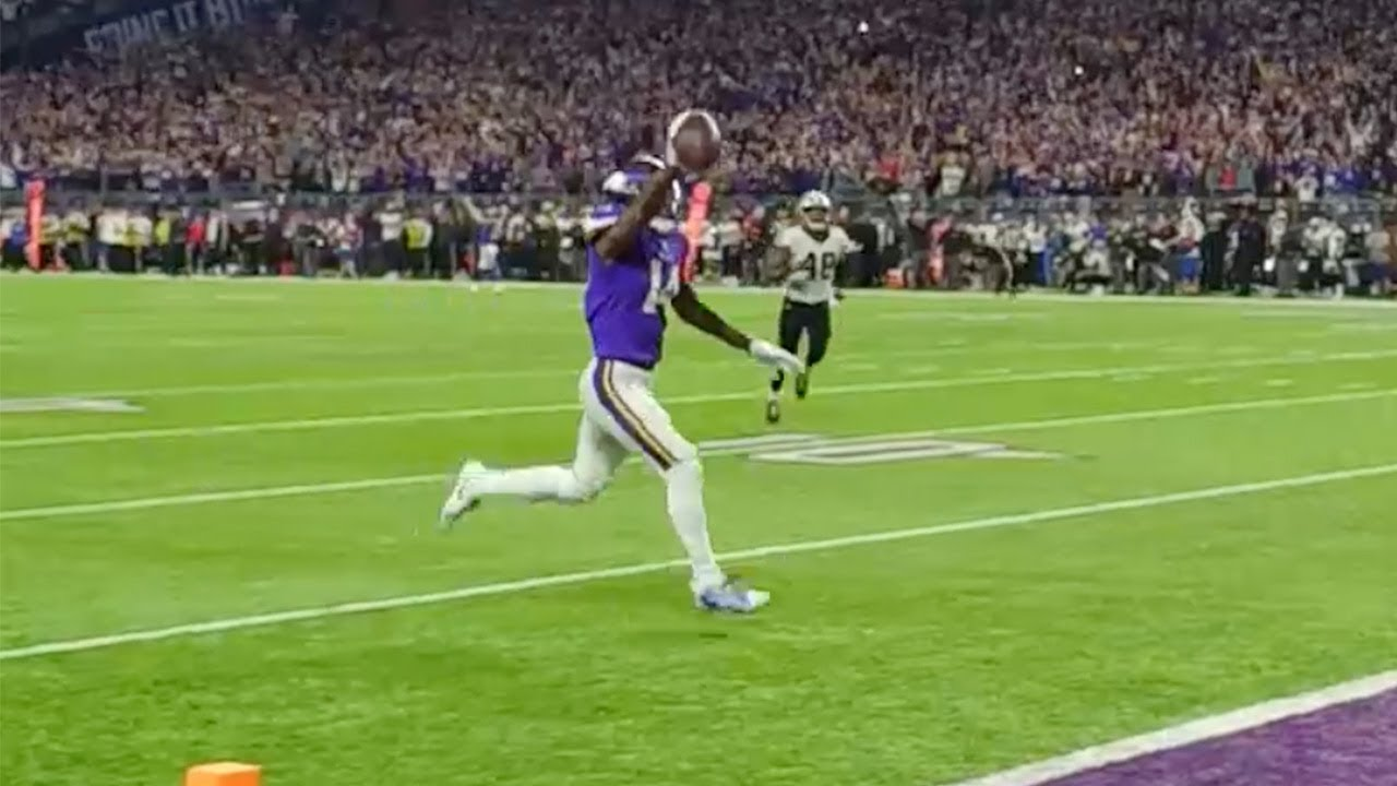 My all-time favorite sports clip is this sideline view of Stefon Diggs scoring and the crowd absolutely going insane.