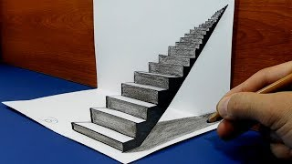 3D Trick Art on Paper, How to draw, Stairway to Heaven