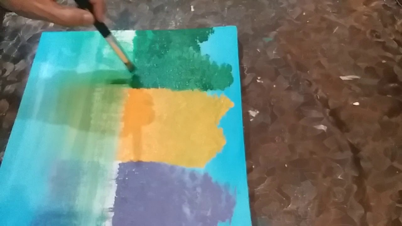 Abstract Painting Demo / Orange, Violet & Green Landscape /💖🤗💞For Beginners 💖🤩🤩💞