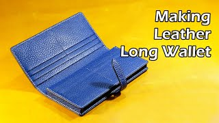 63 [Leather Craft] Making Leather Long Wallet 5 / [가죽공예] 가죽 장지갑 만들기 5 / Free Pattern