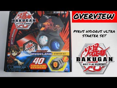 Bakugan Battle Planet Starter Set Pyrus Aquos Haos 40 Card Deck Brawlers