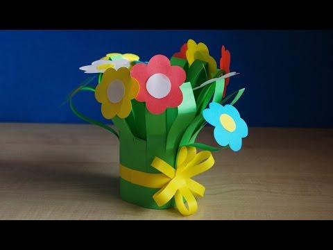 Цветы из бумаги. Букет для мамы на день рождения своими руками. Весенние поделки в школу.