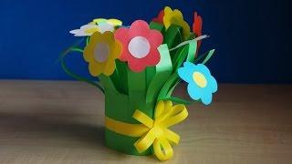 Поделки из цветной бумаги. Цветы в подарок маме, учителю на день рождения своими руками.