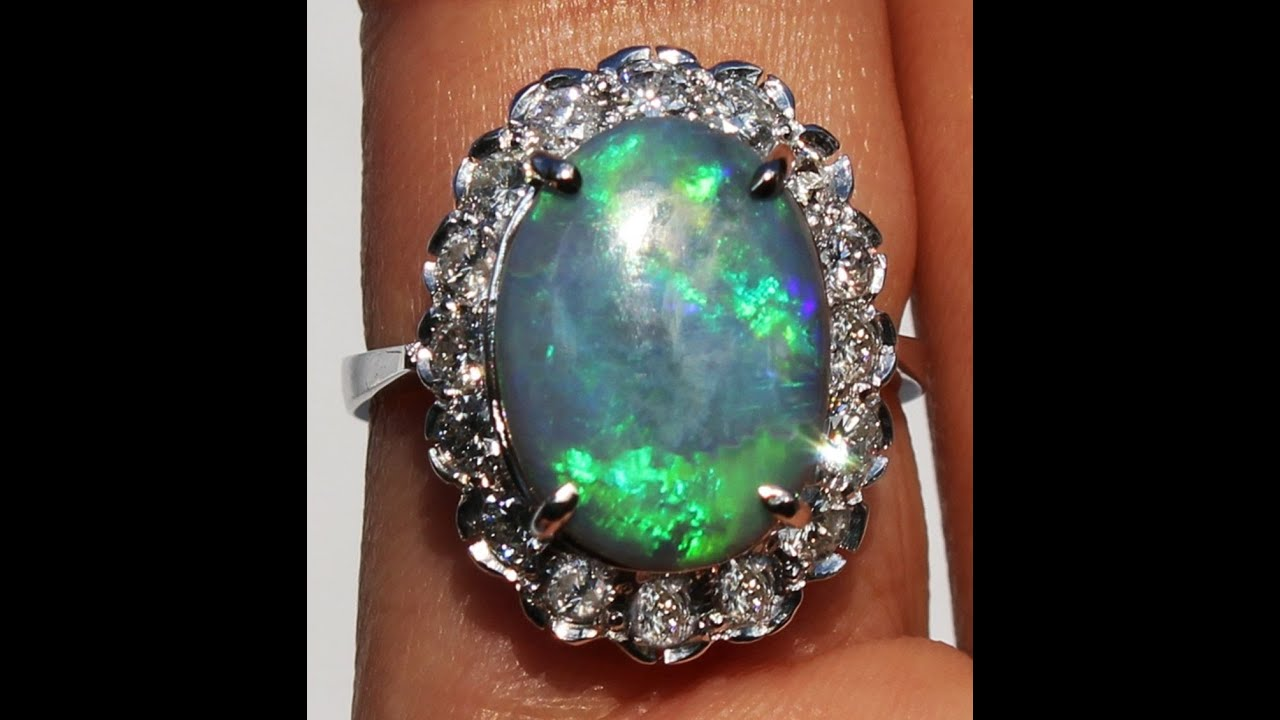 High End Genuine 14k Australian Solid Black Opal Diamond Ring !
