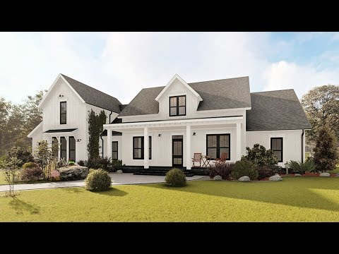 MODERN FARMHOUSE HOUSE PLAN 041-00169 WITH INTERIOR - YouTube
