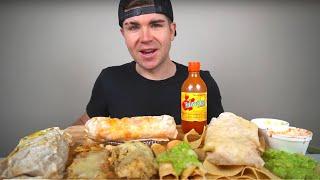 Cheesy Mexican Food Mukbang! Loaded Burritos, Tamales + Enchiladas, Taquitos, Chips N' Guac