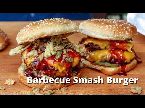 Barbecue Smash Burger | Grilled Smashburger with BBQ Sauce on PK Grill