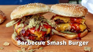 Barbecue Smash Burger | Grilled Smashburger with BBQ Sauce on PK Grill thumbnail