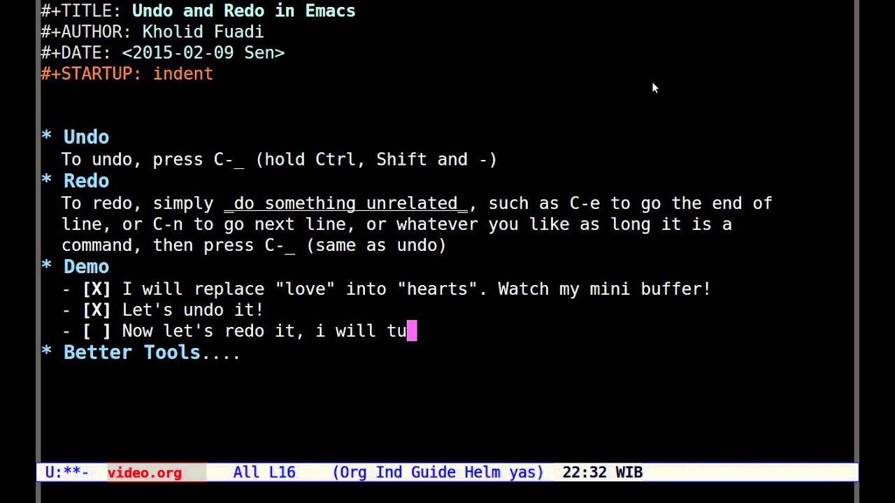 Emacs Undo and Redo