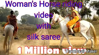 Women's Horse riding and rounding entire village with silk saree