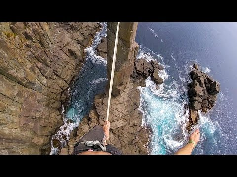 GoPro climbing video Slackline the Moai Tower