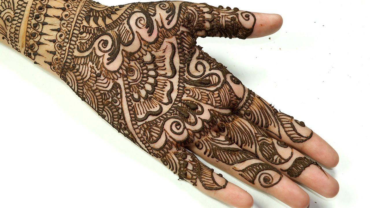 simple mehndi design for left hand front side
