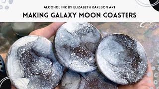 Alcohol Ink Galaxy Moon Coasters | Elizabeth Karlson Art