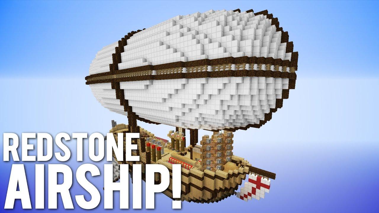 Minecraft Giant Redstone Airship Piston House YouTube