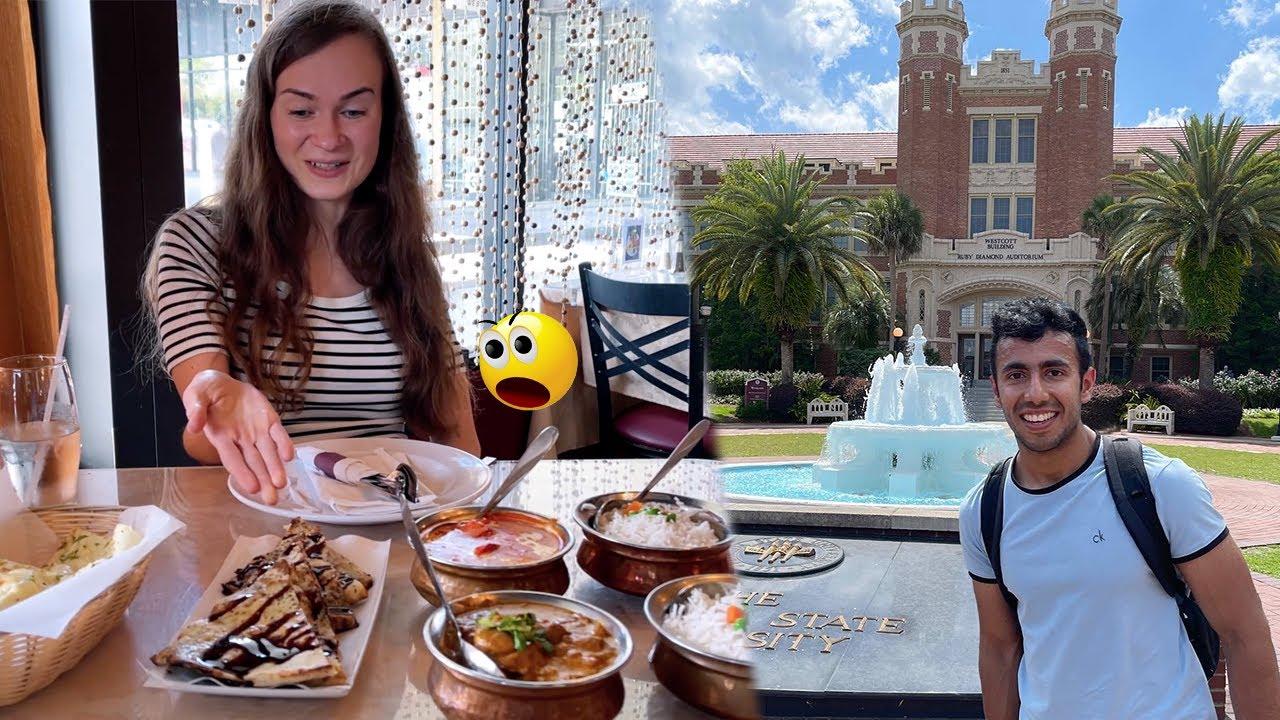 Chocolate Naan in USA 🔥 Florida State University Campus Tour!!