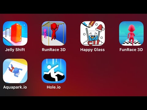 Jelly Shift, Run Race 3D, Happy Glass, Fun Race 3D, Aquapark.io, Hole.io