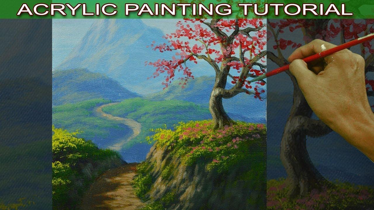 Acrylic Landscape Painting Tutorial Autumn Cherry Tree On