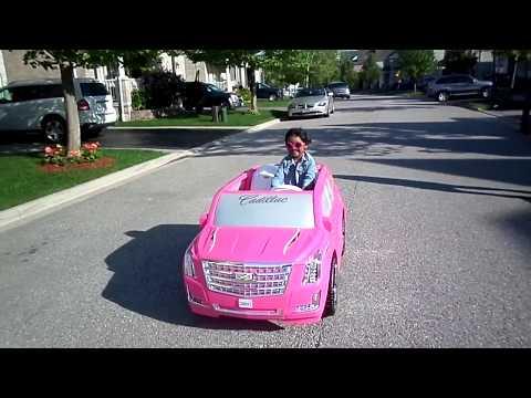 KIDS Playing Barbie Cadillac Power Wheel
