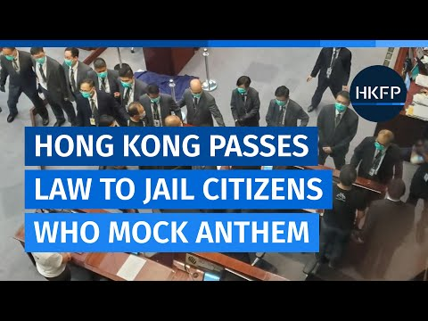 Hong Kong's pro-Beijing lawmakers pass law to punish 'insult' to national anthem with 3 years jail