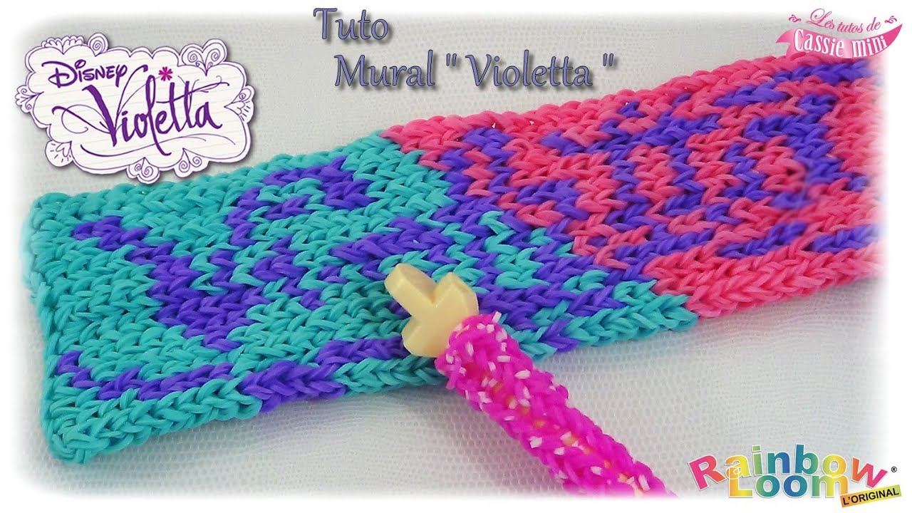 Tuto mural violetta en lastique rainbow loom youtube for Mural en elastique
