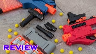 review nerf rival accessories red dot sight tactical flashlight rechargeable battery