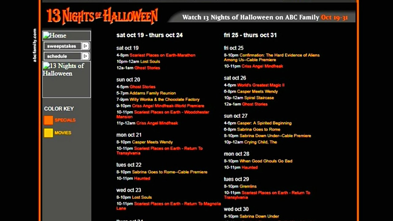 abc family 13 nights of halloween 2002 schedule