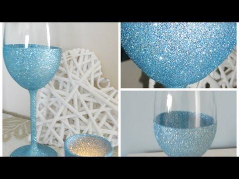 Glittery Wine Glasses for new year festive decor