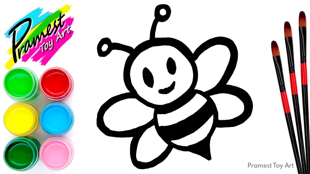 Belajar menggambar dan mewarnai Hewan Lebah untuk anak ...