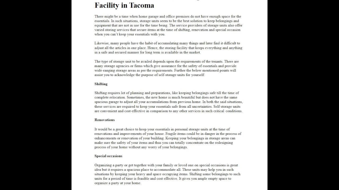 Self Storage Units Facility In Tacoma Wa