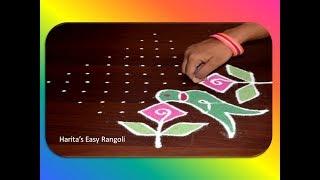 Parrots & Fuits Rangoli 13Dots     Latest Parrent Kolam Design    Creative Muggulu Design for dasara