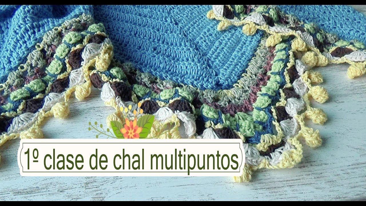 Como hacer chal en crochet multipuntos |1º clase |ganchillo facil ...