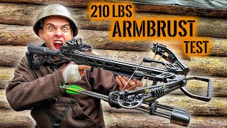 210 lbs COMPOUND ARMBRUST im TEST vs RIOT-SCHILD & STAHLHELM | Survival Mattin