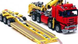"""US style lowboy with jeep and booster """"Trailer Tr4 MkII 8258"""" build with LEGO®"""