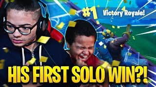 MY 9 YEAR OLD LITTLE BROTHER FINALLY WINS HIS FIRST SOLO GAME OMG! (MUST SEE) FORTNITE BATTLE ROYALE