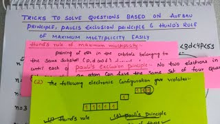 Tricks to solve questions based upon Aufbau's principle, Pauli's principle, Hund's rule easily