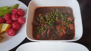 اطيب طبق بزيلاء مع الجزر واللحمة والرز ...lebanese peas with meat and rice