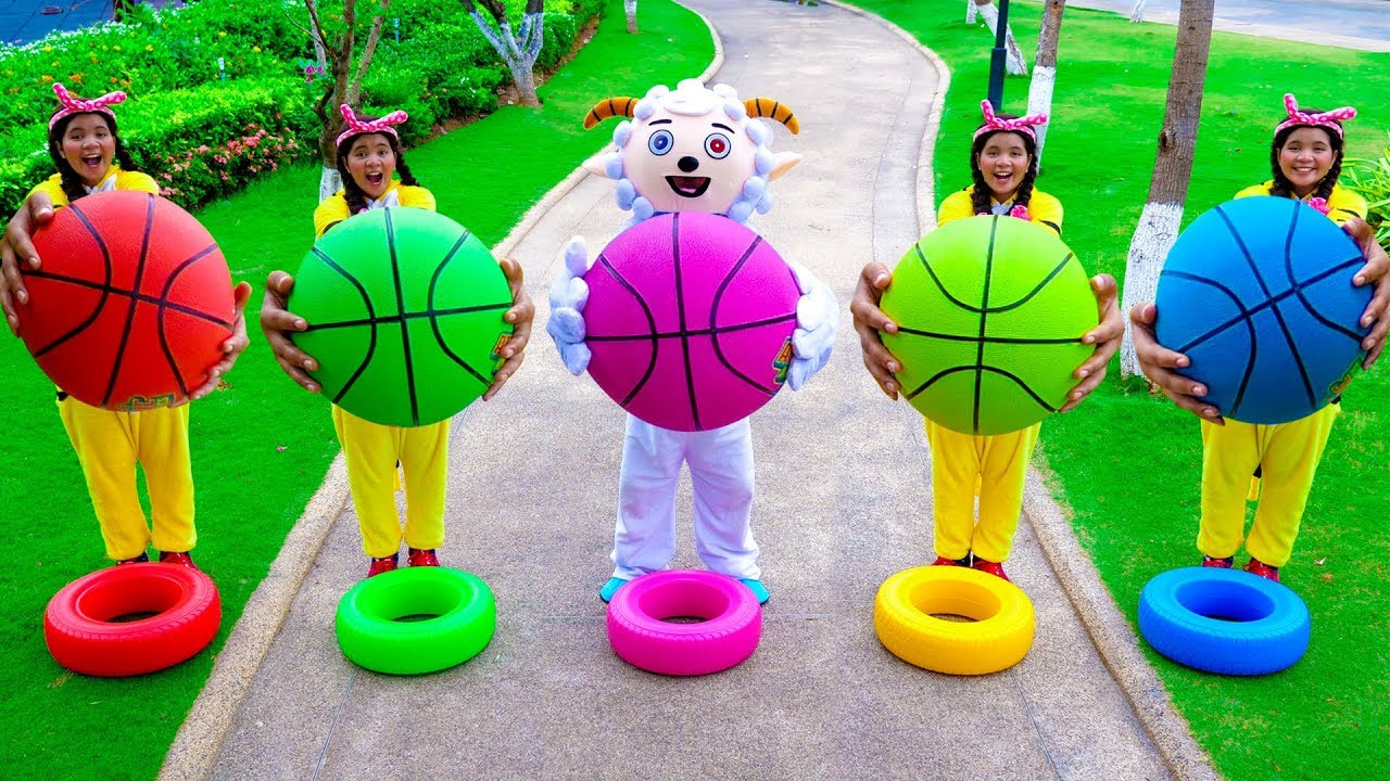 Download Five Little Babies Jumping on the Bed   Kids Song with Basketball