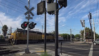 UP 1448 LRR93 Lodi Local and Light Rail, Cars Running Gates, Mather Field Rd. Railroad Crossing thumbnail