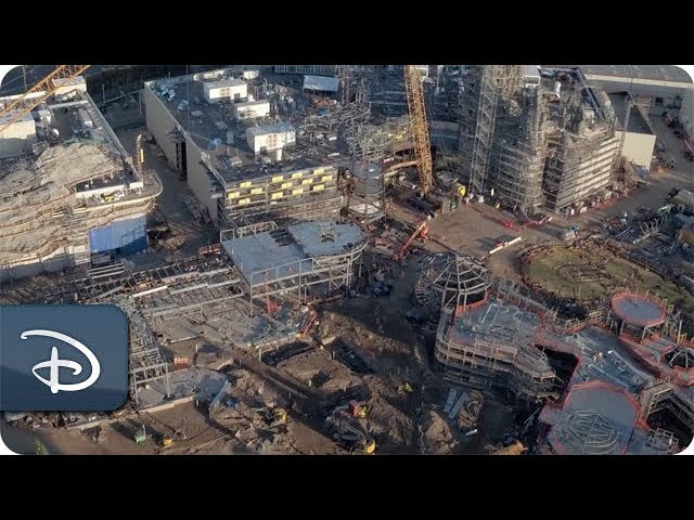 Flyover the Star Wars: Galaxy's Edge Construction Site | Disney Parks
