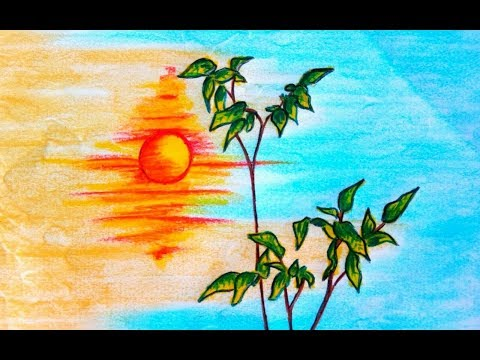 Painting sunset scenery with oil pastel colour (very easy) 2017