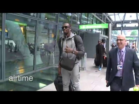 Usain Bolt uses hoverboard to hurtle through airport
