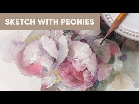 Peonies sketch in watercolor
