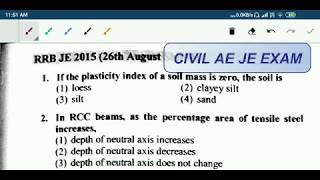 RRB JE CIVIL ENGINEERING PREVIOUS YEAR SOLVED PAPER  CBT 2  PART 1