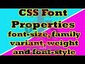 CSS Font Properties-font size, font family, font variant, font weight, font style