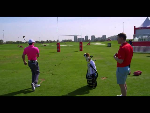 Rory McIlroy shows Ireland rugby legend Brian O'Driscoll some trick-shots