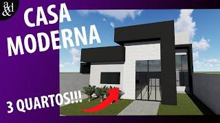 CASA MODERNA COM TRÊS QUARTOS | Projeto JB.