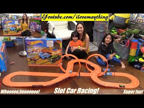 Kids' Toy Cars: Hot Wheels Slot Car Track Set Unboxing and Playtime with Hulyan & Maya
